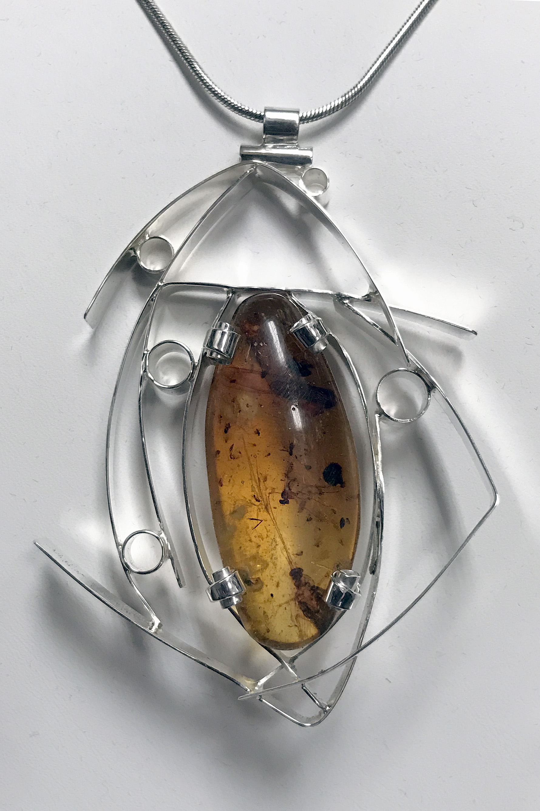 Bug Amber Silver Wisp Necklace