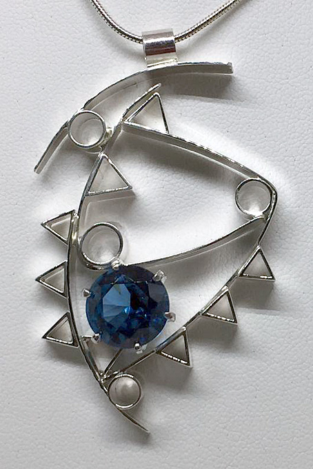 Blue Topaz Cubist Necklace