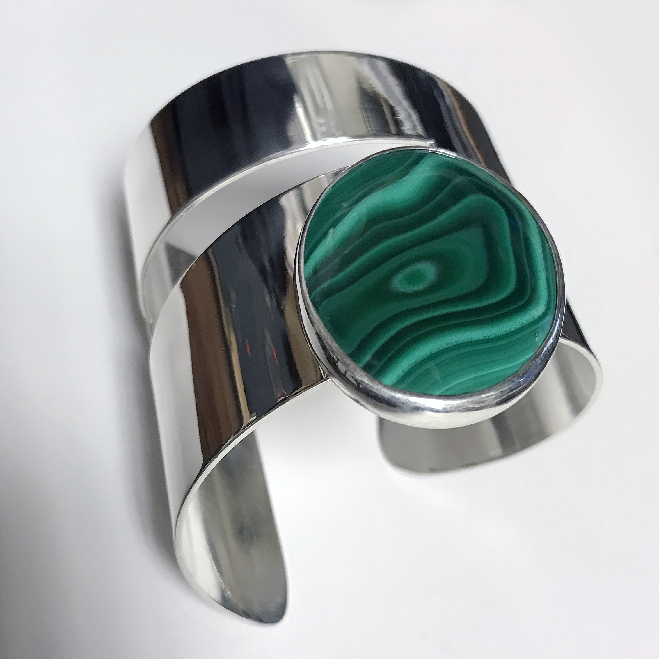 Malachite Modernist Wide Cuff Bracelet (BR-50)