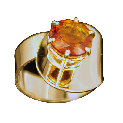 Round Citrine Gold Ring (CITR-3)
