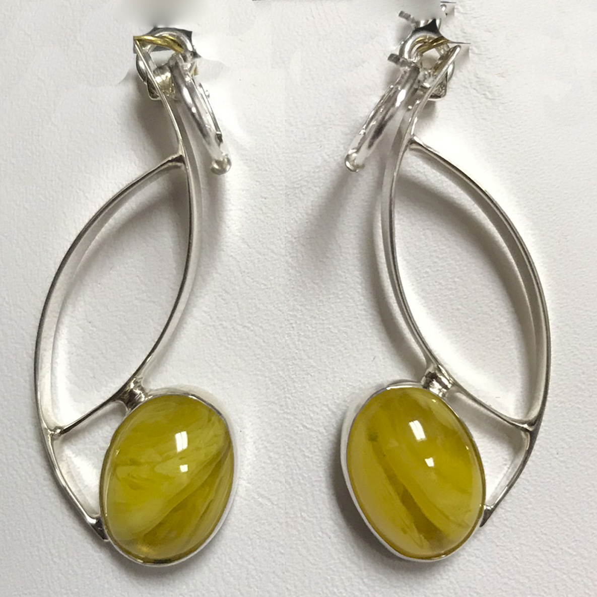 Copal Amber Silver Curves Earrings