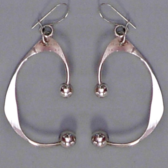 Modernist Silver Dangle Earrings