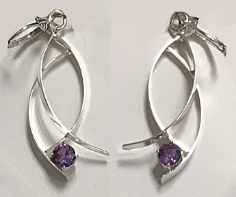 Alexandrite Silver Wisp Earrings (E-292)