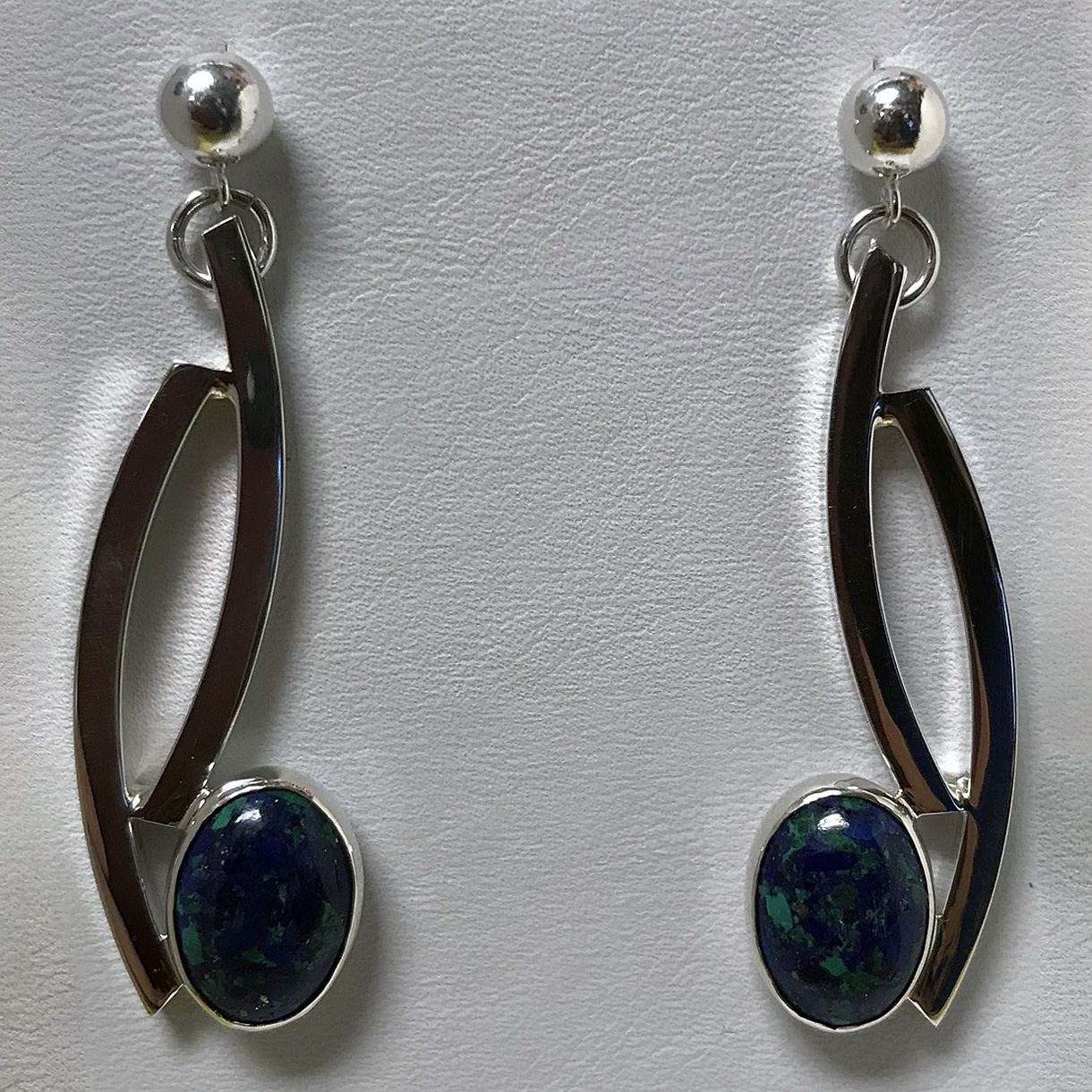 Silver Curves Azurite Earrings