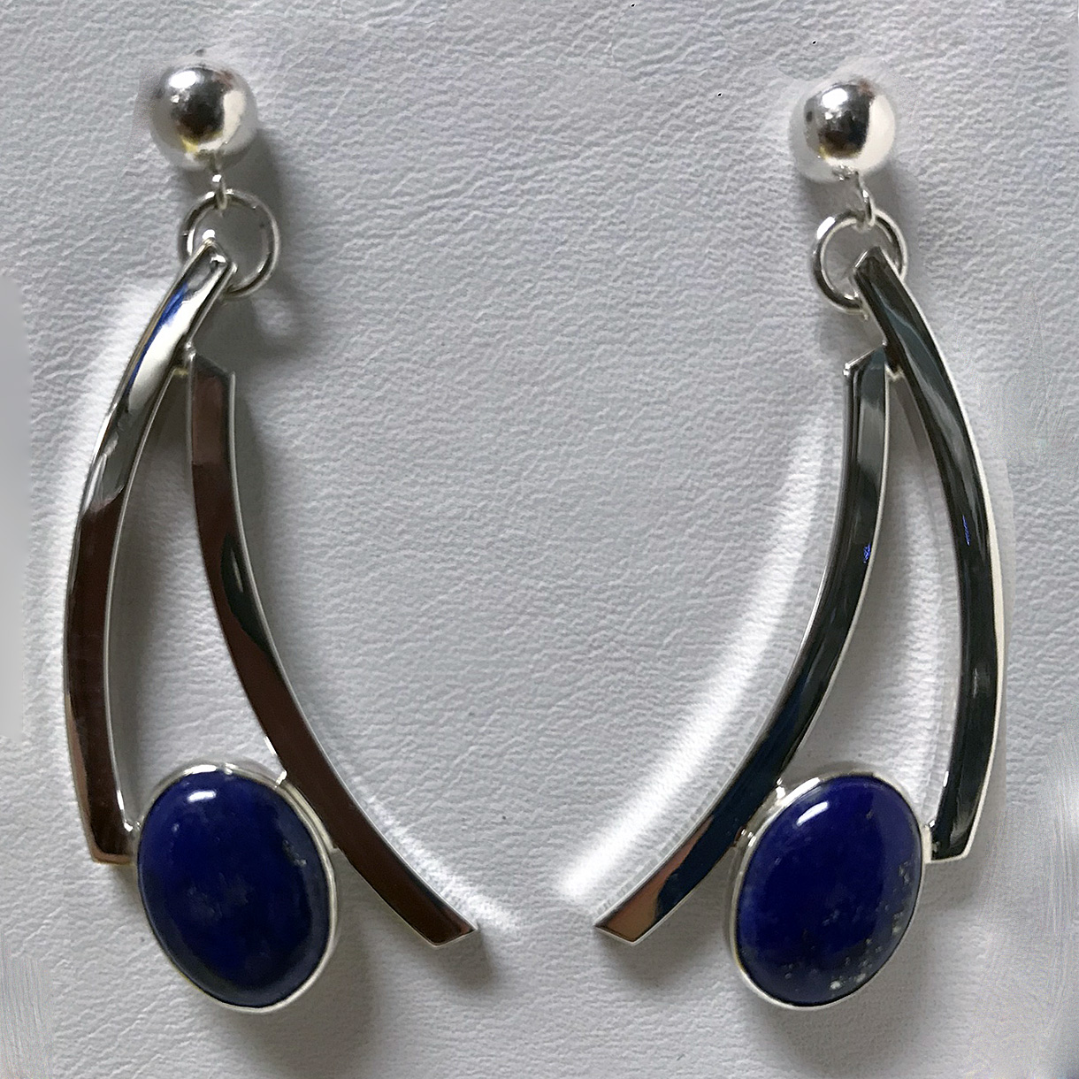 Silver Curves Lapis Earrings (E-6)
