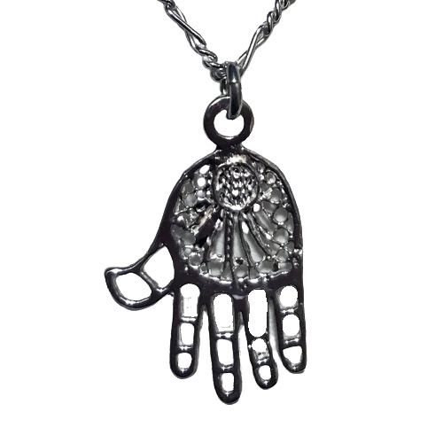 Filigree Hamsa Necklace - Medium