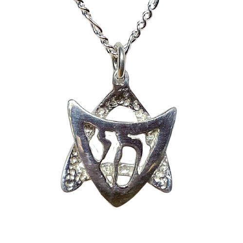 Modern Star of David with Chai Necklace