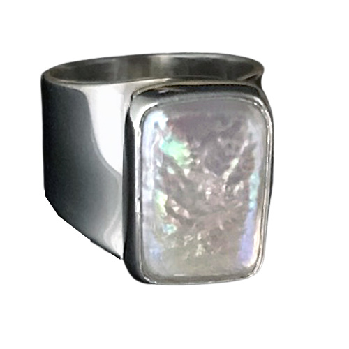 Rectangle Pearl Modernist Ring (RM-17)
