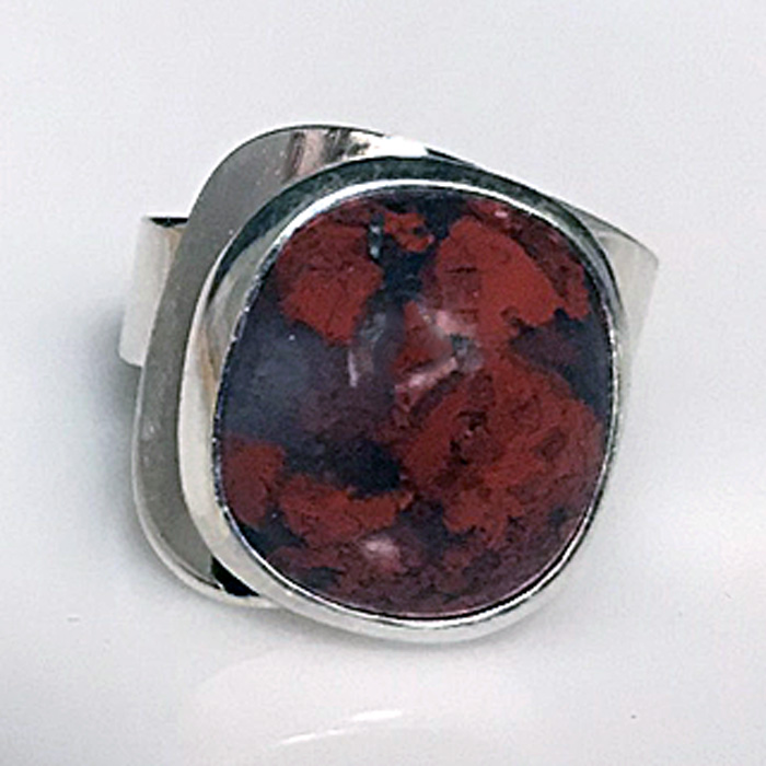 Modernist Red Moss Agate Ring