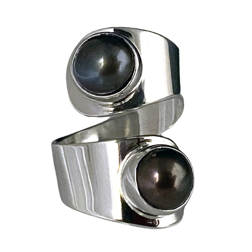 Two Black Pearls Modern Ring (RM-81)