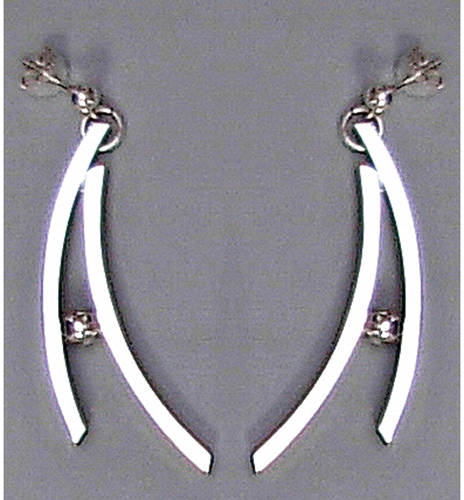 Silver Curves Dangling Earrings (ARE-1)