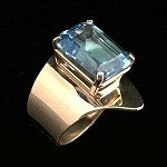 Emerald Cut Swiss Blue Topaz Gold Ring