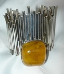 Wide Linear Cuff Bracelet with Copal Amber