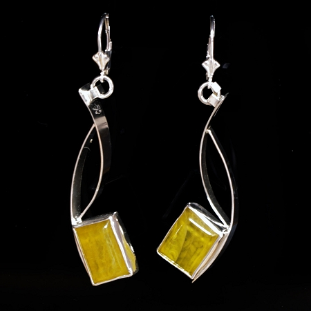 Amber Silver Curves Earrings