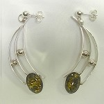 Green Amber Modernist Earrings