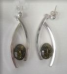 Green Amber Classic Curve Earrings