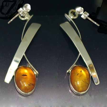 Amber Wisp Dangle Earrings