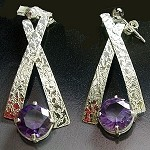 Alexandrite Textured Dangle Earrings