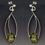 Green Amber Classic Dangle Earrings