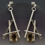 Smoky Topaz Linear Dangle Earrings