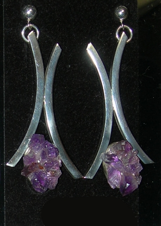 Amethyst Linear Dangle Earrings