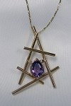 Amethyst Linear Gold Necklace