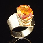 Oval Cut Padparadsha Sapphire Gold Ring