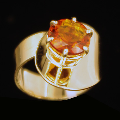 Round Citrine Gold Ring