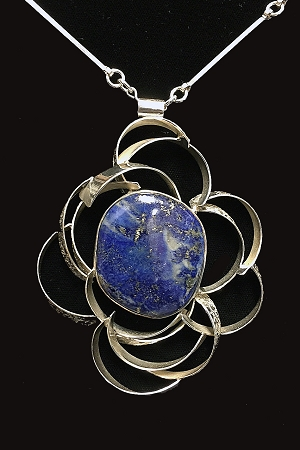 Lapis Texured Flower Necklace