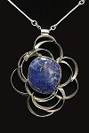 Texured Silver Flower Framing Necklace Framing Lapis
