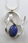 Lapis Silver Ribbon Necklace
