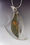 Imperial Jasper Textured Silver Curves Necklace