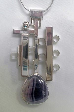 Modern Cubist Necklace with Agate