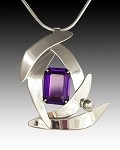 Modern Silver Leaves with Alexandrite