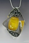 Copal Amber Triangle Frame Necklace