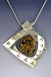 Green Amber Silver Frame Necklace