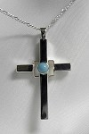 Modern Silver Cross with Turquoise