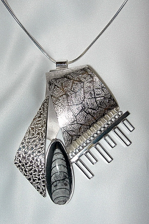 Orthoceras Fossil Silver Ribbon Necklace