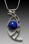 Lapis Silver Curves Necklace