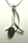Contrasting Textures Curves Necklace with Black Onyx