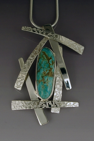 Turquoise Textured Silver Necklace