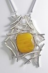 Copal Amber Silver Web Necklace