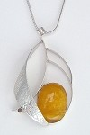 Copal Amber Textured Ribbon Necklace