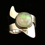 Modern Gold Ring with Freeform Ethiopian Opal