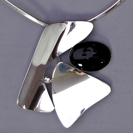 Black Onyx Modernist Pin/Pendant (A-13)