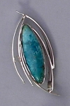 Silver Curves Pin with Turquoise