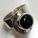 Round Black Onyx Sculptural Ring