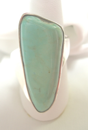 Freeform Green Turquoise Modernist Ring