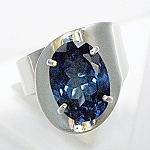 Oval Blue Topaz Modern Ring