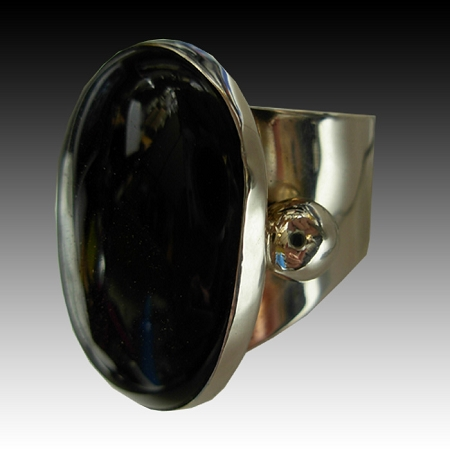 Oval Black Onyx Modernist Ring